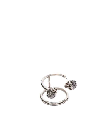 2 Row Twin Skull Ring, Silver