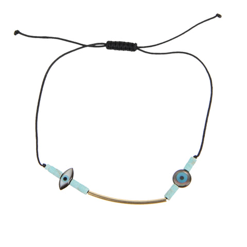 Summer Cord MOP Turquoise Bracelet, Black Cord