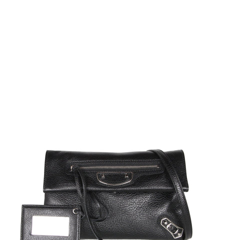 Envelope Clutch Mini Grained ME, Black/Silver
