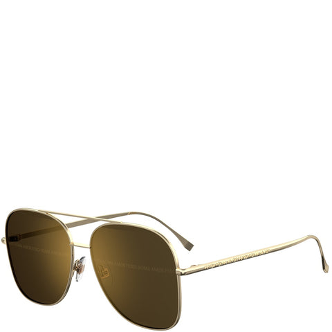 Fendi Square Aviator, Gold/Grey