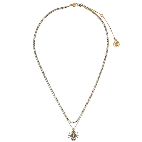 Pave Spider Necklace, Gold