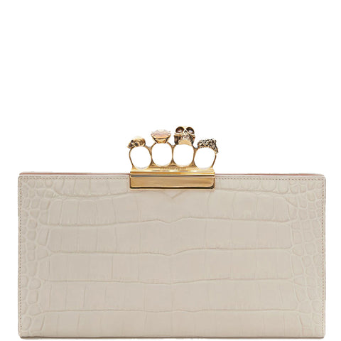 4 Ring Clutch Large Croc, White Bone/Gold