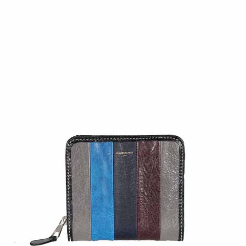 Bazar Stripe Billfold Wallet, Grey/Navy/Bordeaux