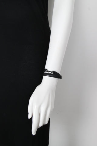 YSL Double Wrap 2x Leather Bracelet Monet, Black