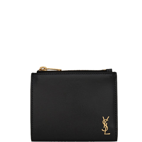 Tiny Monogram Bi-Fold, Black/Gold