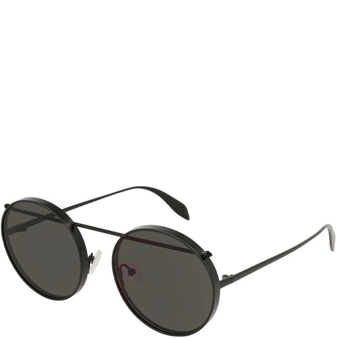 Round with Bar Sunglasses, Black/Grey
