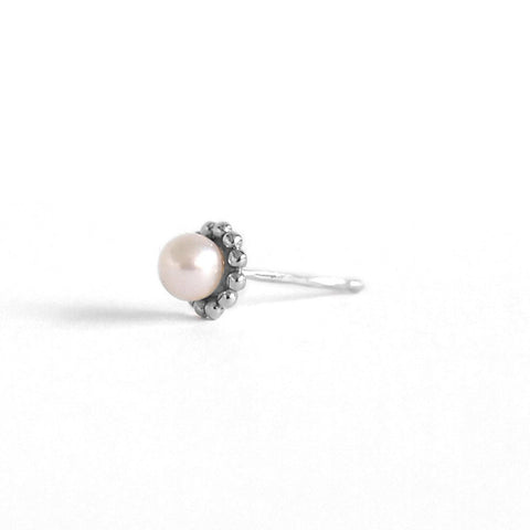 Dot Pearl Stud Earring, Silver (single)
