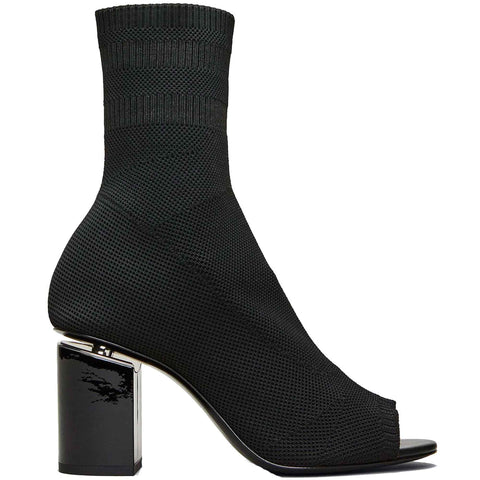 Cat Knit Peep Toe 75 Boot, Black/Rhodium