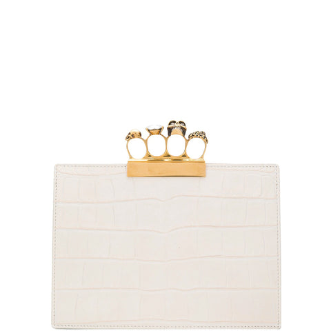 4 Ring Clutch Small Croc, Off White/Gold