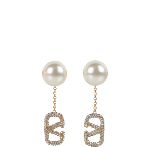 Pearl Dangle Crystal V Earrings, Gold