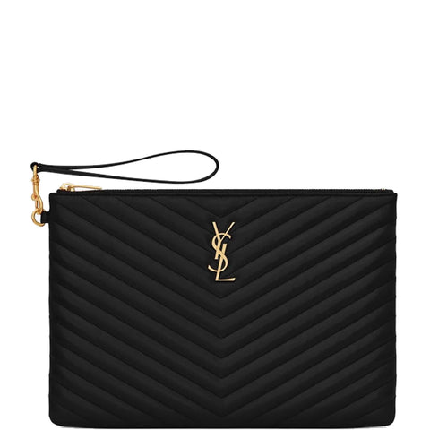 Wristlet Pouch Medium, Black/Gold