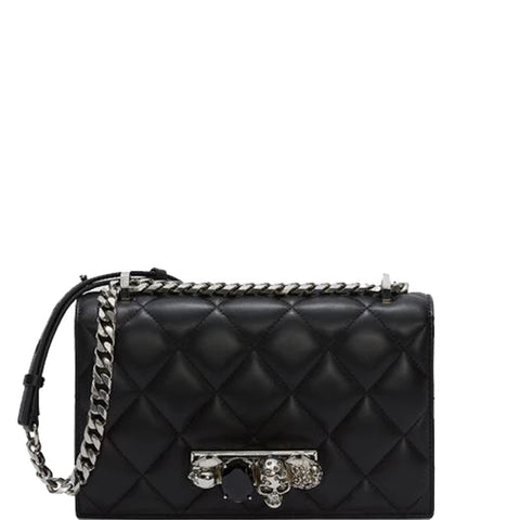 Jewelled Knuckle Satchel Quilted, Black/Silver