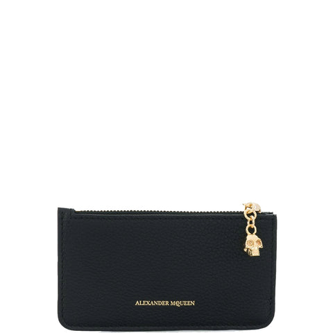 Flat Card Holder Zip, Black/Gold