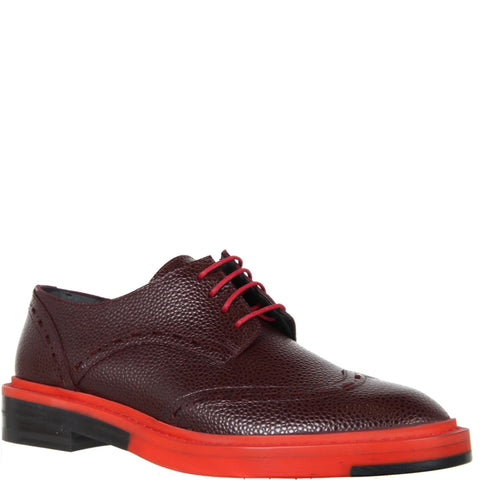 Brogue Bi-Colour Caviar Grain, Cherry