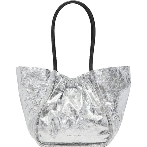 PS Ruched Tote Large Calf, Silver
