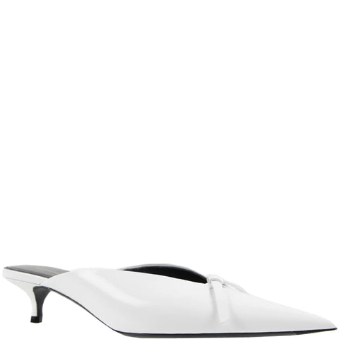 Knife Kitten Leather Mule, White