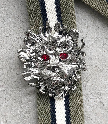 Strap 35 Lion Silver (Red), Khaki/Cream