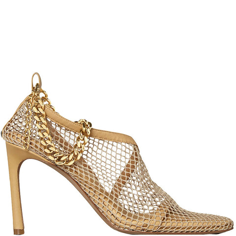 Stretch Mesh Sandals 90, Nude