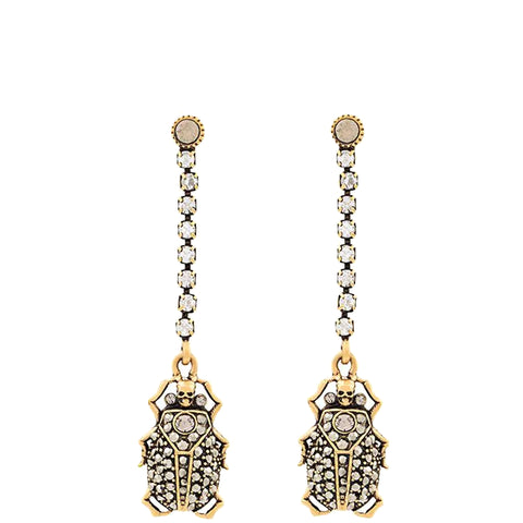 Beetle Drop Earrings, Gold