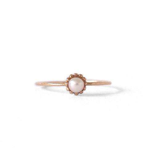 Dot Pearl Ring, Rose Gold