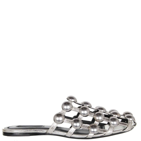 Amelia Studded Flats, Silver/Silver
