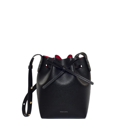 Bucket Bag Mini Mini Saffiano, Black/Flamma