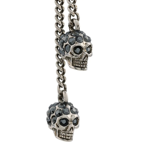 Skull Chain Dangle Earring, Silver