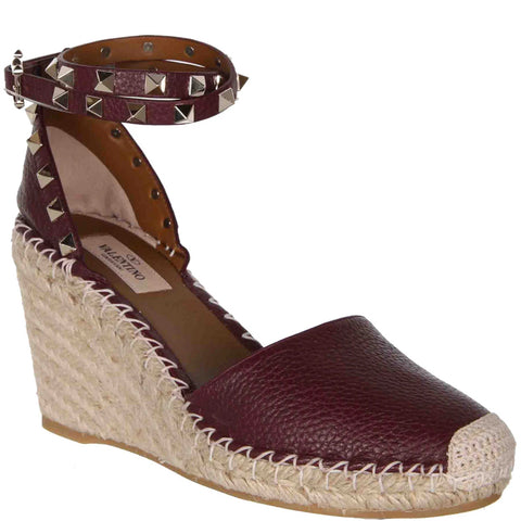 Rockstud Espadrille Wedge Grained, Rubin