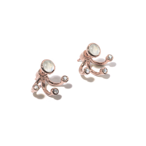 Three Gravitation Earring Rose Gold, Moonstone & White Topaz