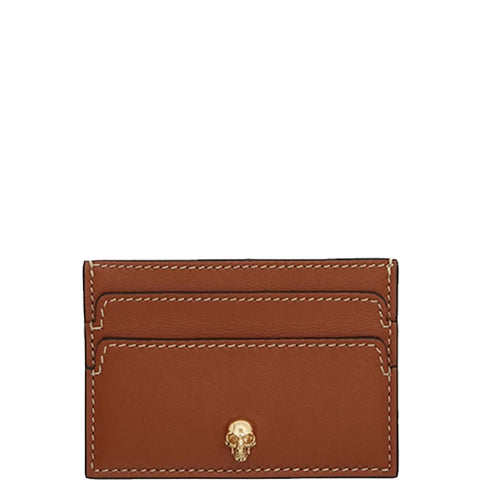 Flat Card Holder, Tan/Gold