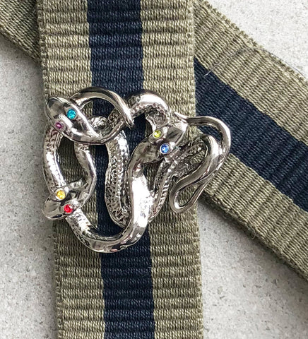 Strap 40 Snake Silver, Military/Blue