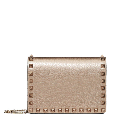 Chain Square Pouch Metallic, Dark Gold