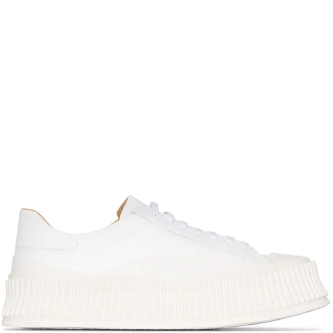 Ribbed Sole Lamb Trainer, White