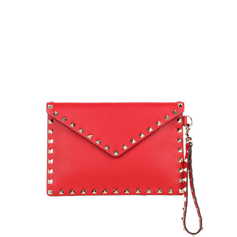 Medium Envelope Wristlet Grained, Rouge Pur