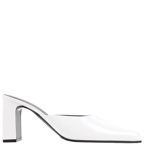 Round Leather Mule, White