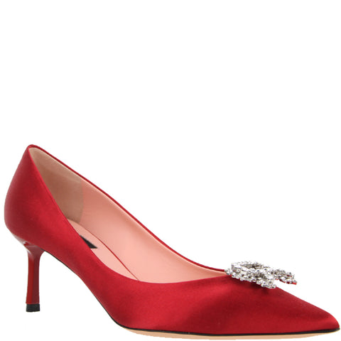 Rochas Pump 60 Satin, Cherry