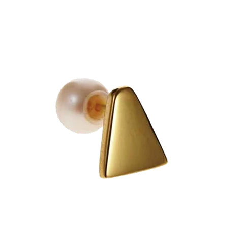 Ice Cream Stud with pearl (single), Gold