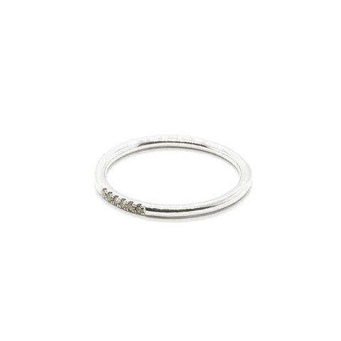 Six Stone Queenie 14k White Gold, Champagne Diamonds