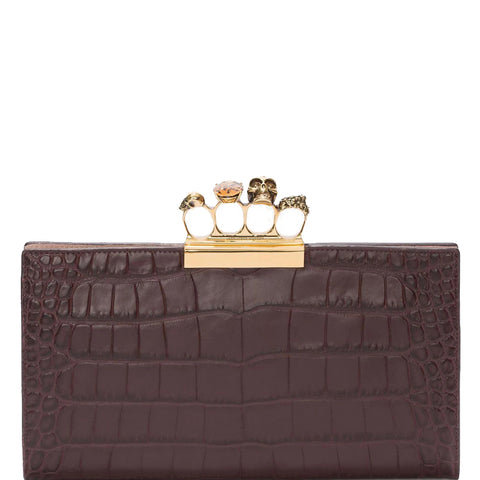 4 Ring Clutch Large Croc, Burgundy/Gold
