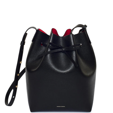 Bucket Bag Saffiano, Black/Flamma