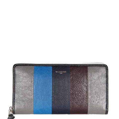 Bazar Stripe Long Zip Wallet, Grey/Navy/Bordeaux