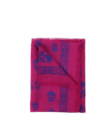 Stained Glass Skull Scarf Pashmina, Pink/Purple