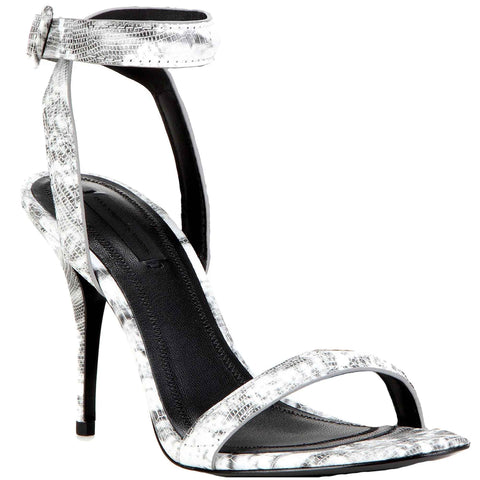 Antonia Heel Lizard Calf, Black/White