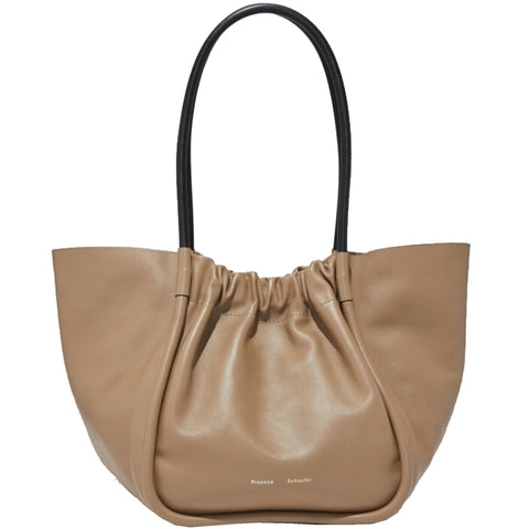 PS Ruched Tote Large Calf, Taupe