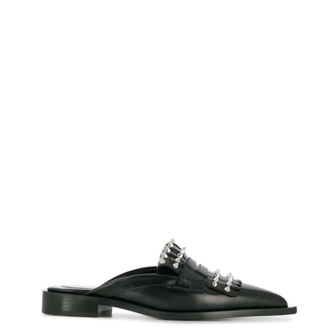 Loafer Mule Slide, Black/Silver