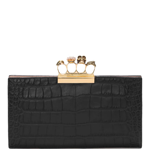 4 Ring Clutch Large Croc, Black/Gold