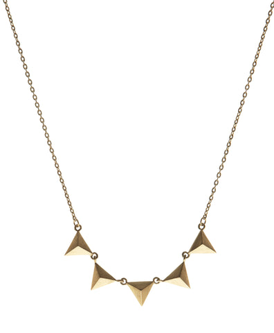 5 Stud Necklace, Matte Gold
