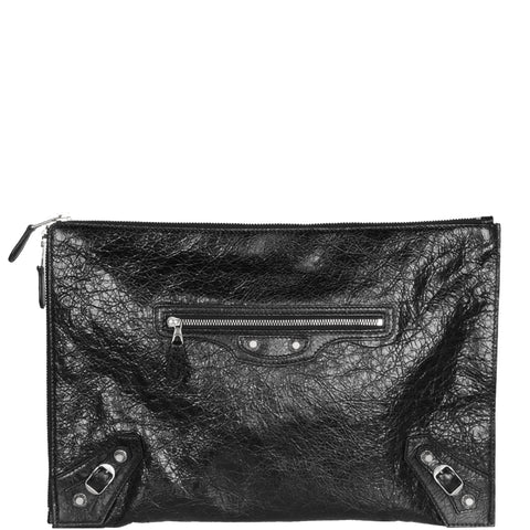 Pouch Zip Crinkle G12, Black/Silver