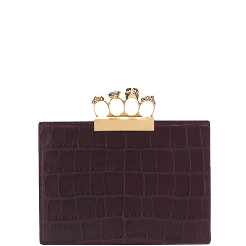 4 Ring Clutch Small Croc, Dark Purple/Gold