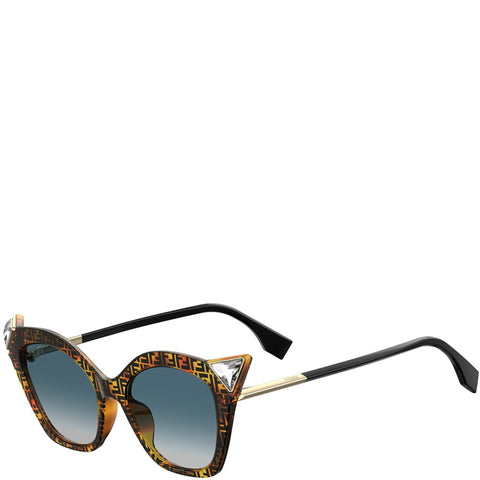Fendi Iridia Large Cat Eye Crystal Tip, Havanna